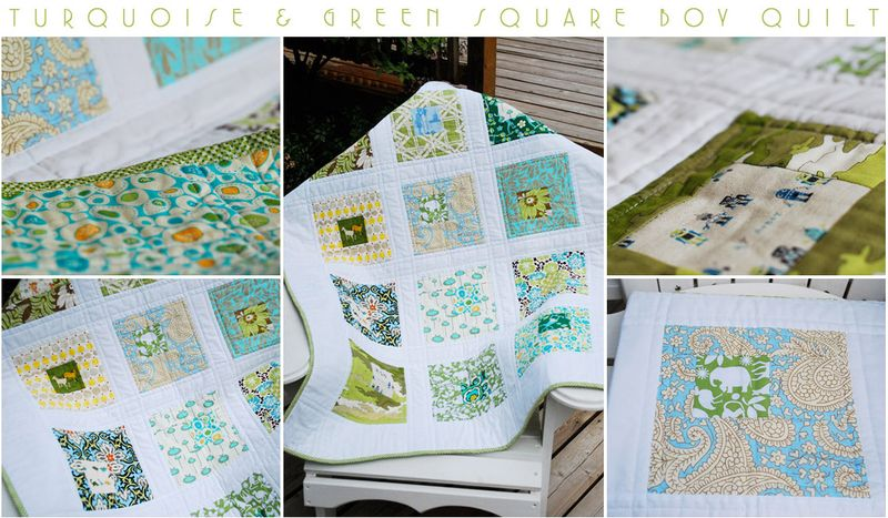 Green square boy quilt